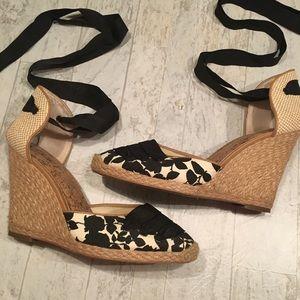 LOFT Ann Taylor Espadrilles Wedge Lace Up Heels